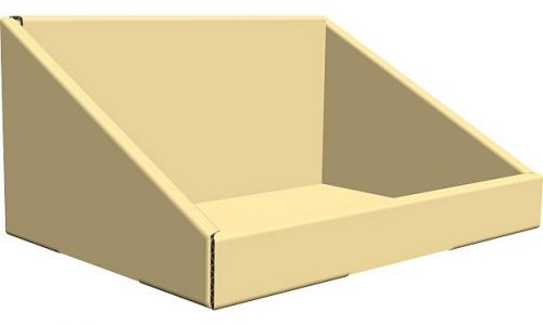 Slanted Corrugated Tray to ship and/or display product.